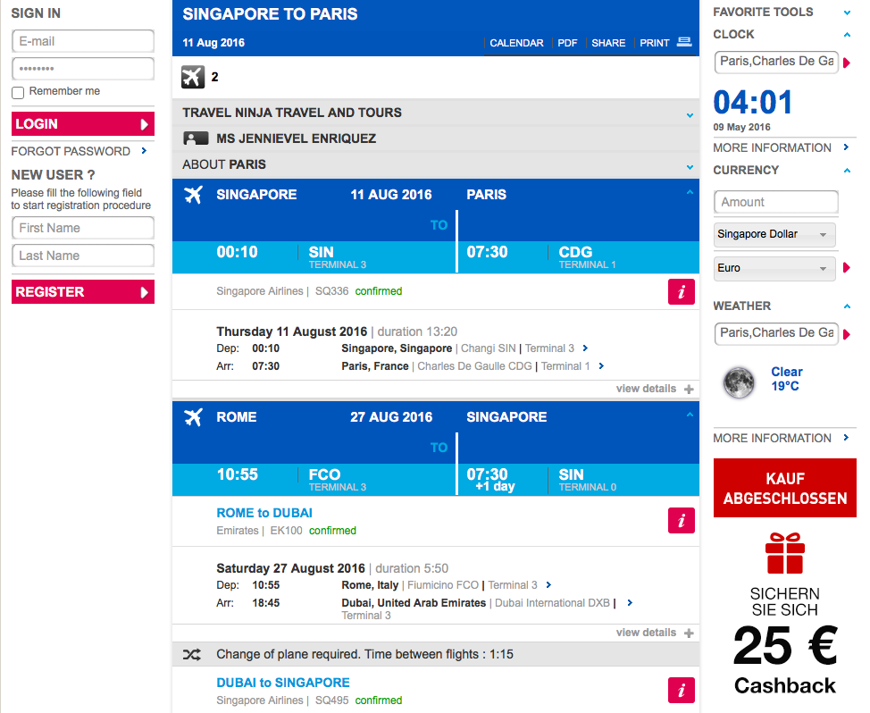 how to create a fake flight itinerary